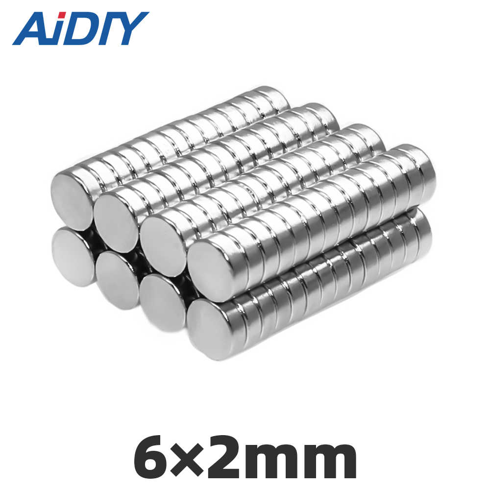 AI DIY 20/50/100 pcs N35 6x2mm ímã de neodímio 6*2mm super fortes ímãs de neodímio disco Mini pequeno 6x2mm