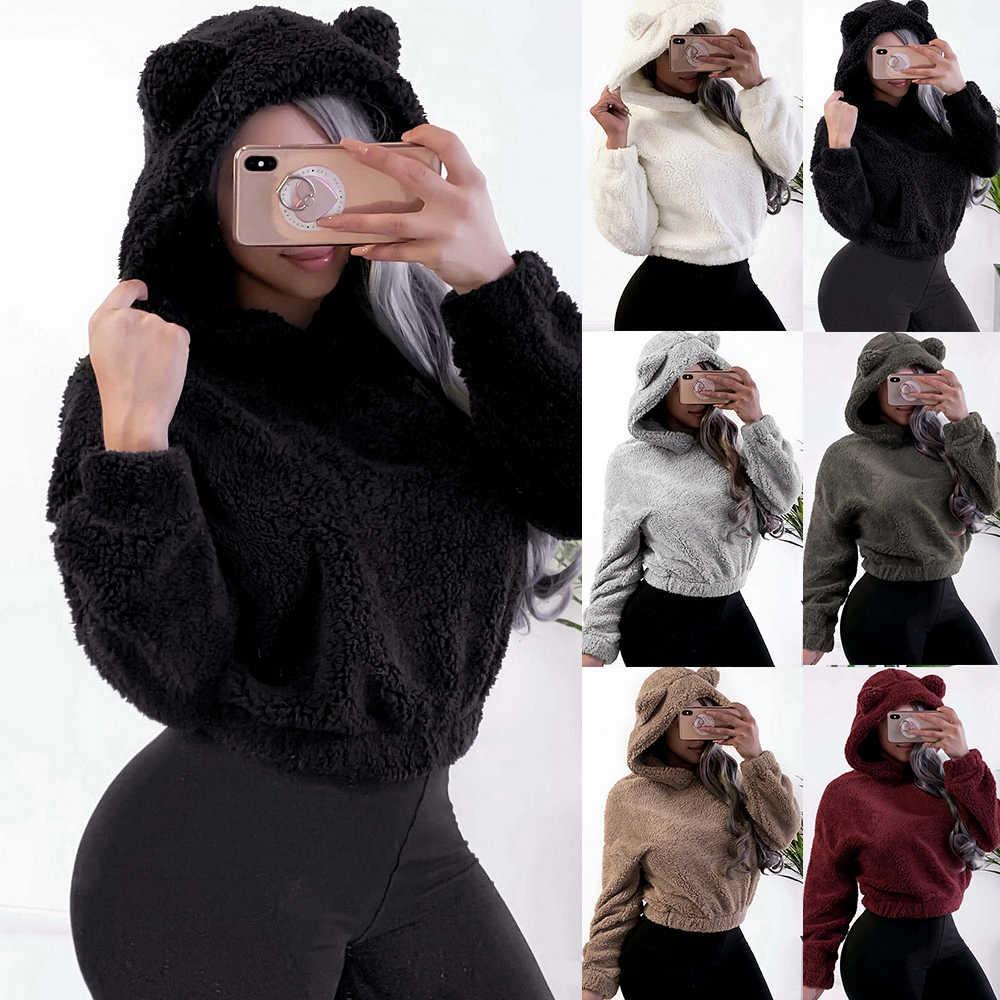 2019 adorável moletons macios com orelhas de urso feminino sólido velo hoodie inverno de pelúcia quente pullovers campus preppy camisolas casuais