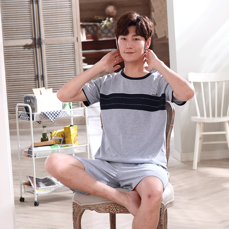 Summer Short-sleeved Shorts Pajamas Men's Knitted Cotton Thin Section Heads Solid Color Youth Casual Home Service Two-piece Suit