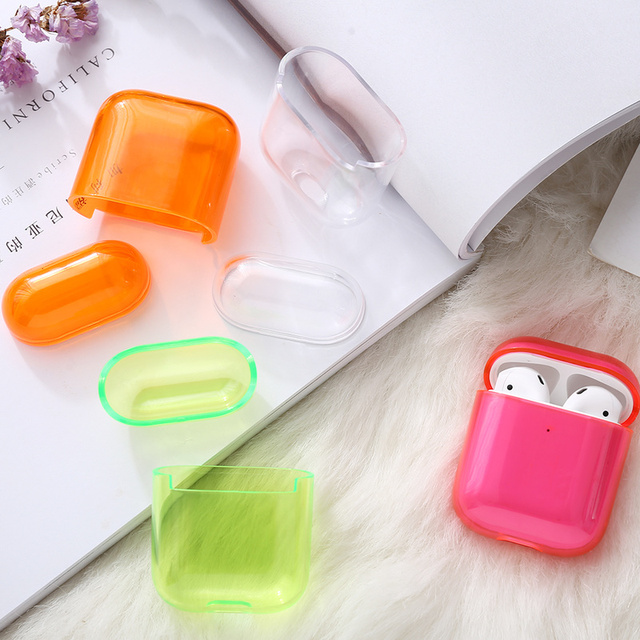 1/2 Candy Color Case Cute Transparent Cover For AirPods Earphone Thin Case Protector Charging Box