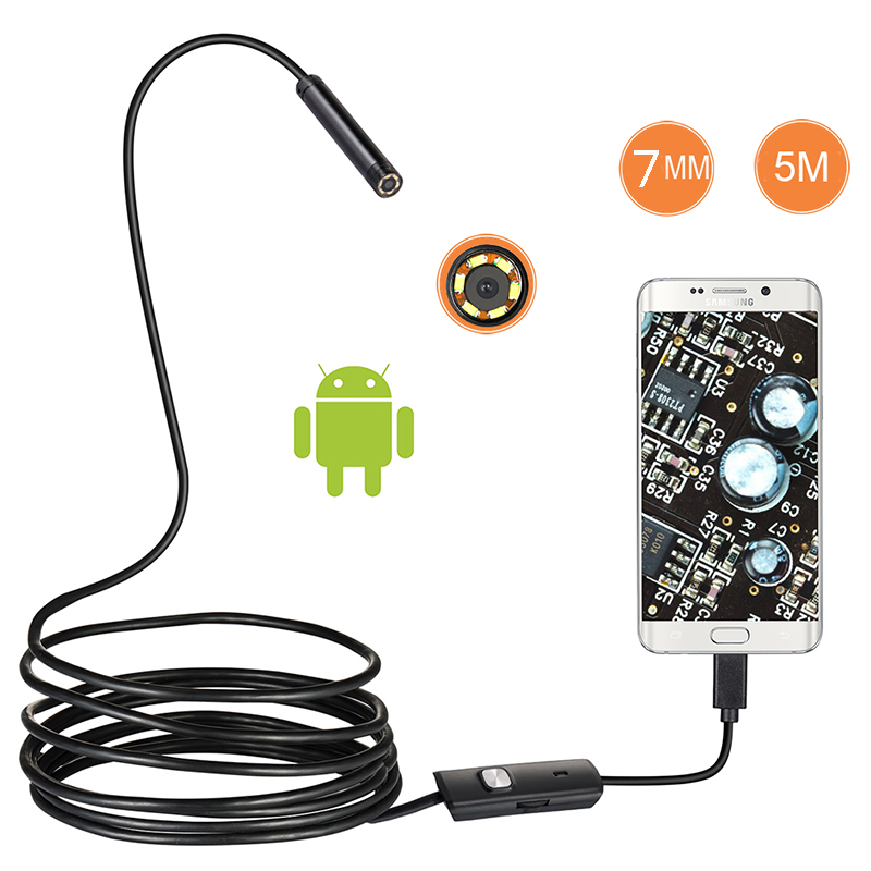 7mm Mini Camera Endoscope 5 M Soft Flexible Tube Mirco USB Laptops PC Borescope Video Inspection For Android Car Endoscope