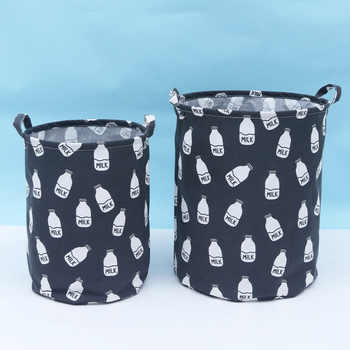 2pcs Fabric Canvas Dirty Laundry Baskets To Organize Foldable Cartoon Toy Storage Organizer New Toy Basket Clothes Storage Drum