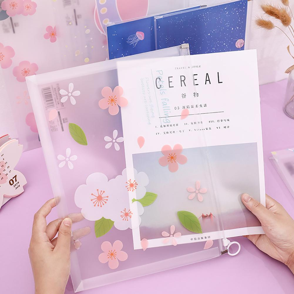 A4 Transparent Document Bag PVC Zipper Stationery Pouch Filing Products Bag Stationery Office Supplies
