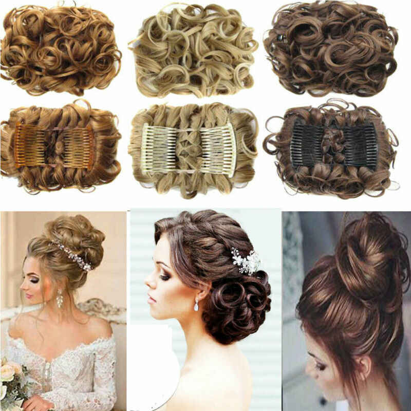 2019 Brand New Fashion Large comb clip in curly hair piece chignon updo wedding hairpiece extension bun