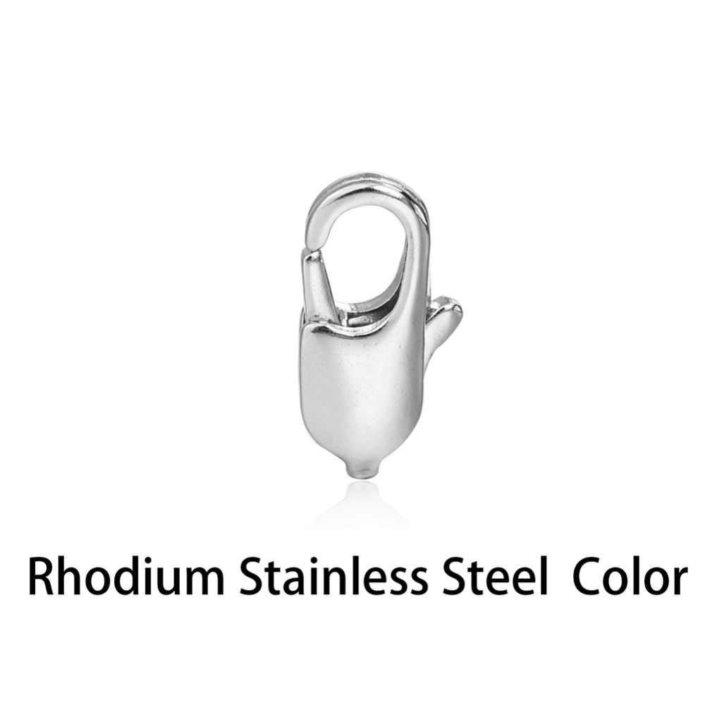 Bộ 100 10 Mm 12 Mm Bạc Mạ Rhodium Đồng 802 Vuốt Snap Nút Thắt Móc Nối Tôm Hùm Cho Vòng Cổ vòng Tay