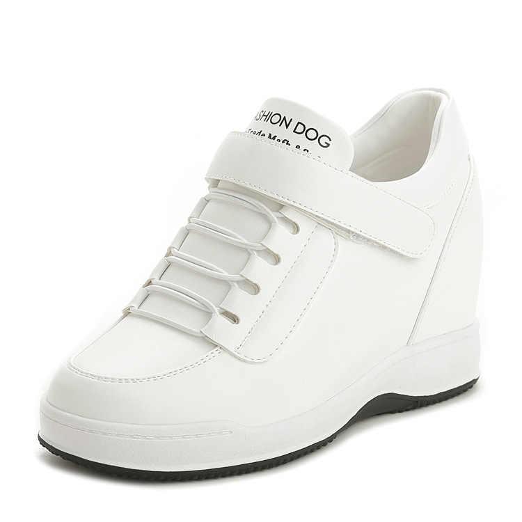 XEK 2019 Sonbahar Yüksek Üst Kama Platform Sneakers Kadınlar rahat ayakkabılar Gizli Topuklu Bayan Ayakkabı Kadın Ayakkabı YYJ151