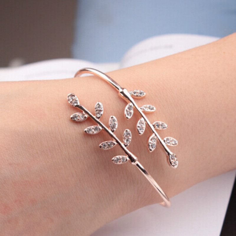 Fashion Open Adjustable Bracelet Bangle Creative Tree Leaf Insert Crystal Zircon Gold Silver Women Temperament Jewelry Accessory