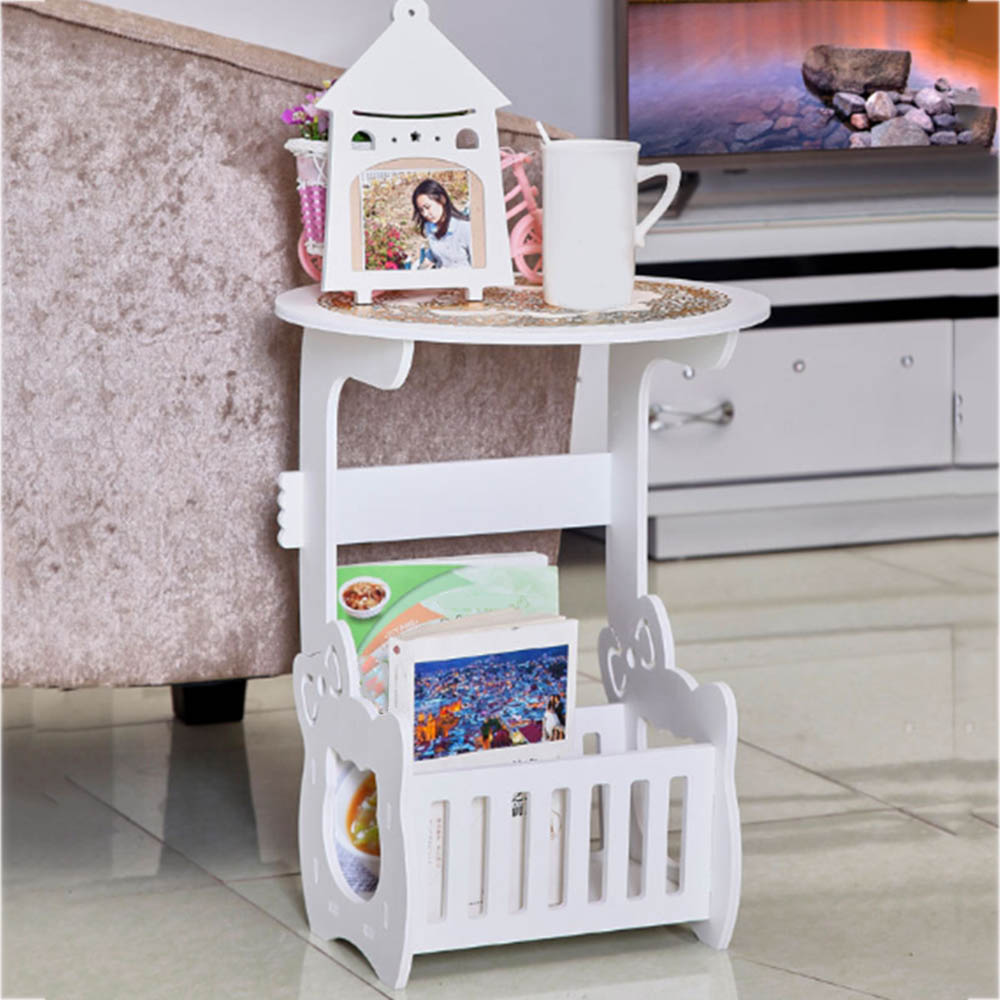 Bedroom bedside table carved hollow small cabinet fashion computer desk mobile assembly stereo round table with shelves