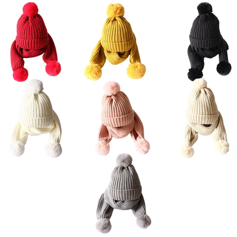 Children Scarf Hat Set Knitted Fluffy Pompom Solid Color Kids Head Cap Shawl