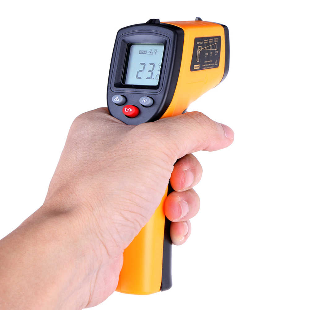 Fungsi Gun Meter SensorNoncontact LCD Display Digital Infrared Themperature Pyrometer IR Laser dengan Data Memegang