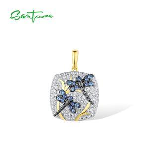 SANTUZZA Silver Pendant For Women Genuine 925 Sterling Silver Sparkling CZ Elegant Blue Dragonfly Square Trendy Fine Jewelry