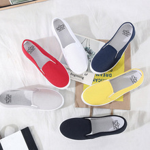 Large Size Women Flats 21019 Loafers Canvas Slip on Flat Shoes Woman Sneakers White Casual Shoes Black Ladies Shoes espadrilles ggob 2018 womens flats outdoor walking white canvas shoes ladies casual women loafers brand fashion black high gang flat with