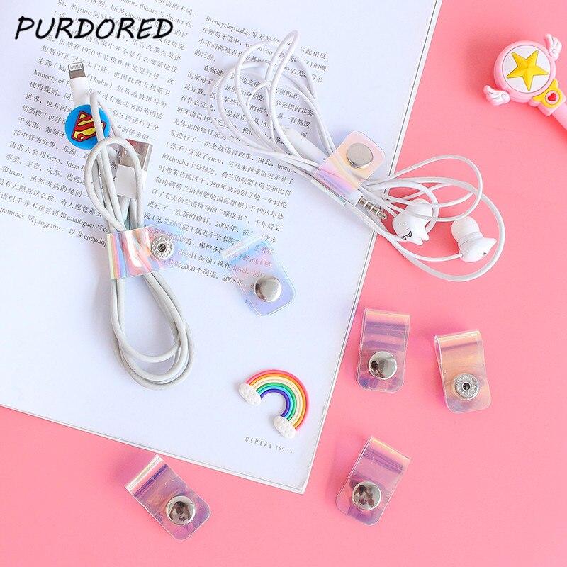 PURDORED 5 Pcs/set Laser Earphone Headphone Cable Line Holder Headset Organizer Packing Travel Accessories Viaje  Organizadores