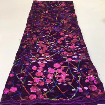 African Velvet Lace Fabric With Sequins High Quality Embroidery Nigerian Wedding Lace Fabric For Velvet Lace