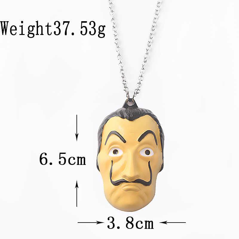 6cm 큰 살바도르 달리 마스크 목걸이 라 카사 드 파펠 칼라 하우스 종이 돈 강도 Cospaly 초커 여성 남성 쥬얼리