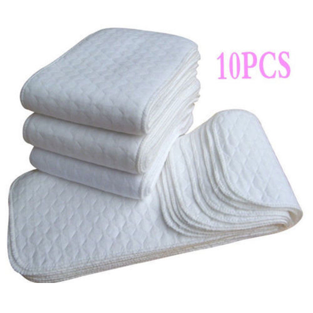10PCS Nappy Liners Soft Reusable Baby Cloth Diaper Nappy Liners insert 3 Layers Cotton Washable Baby care