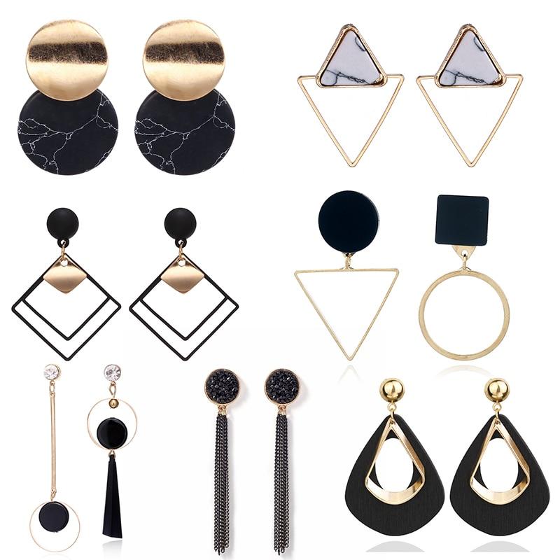 New Korean Heart Statement Drop Earrings 2019 For Women Fashion Vintage Geometric Acrylic Dangle Hanging Earring Jewelry