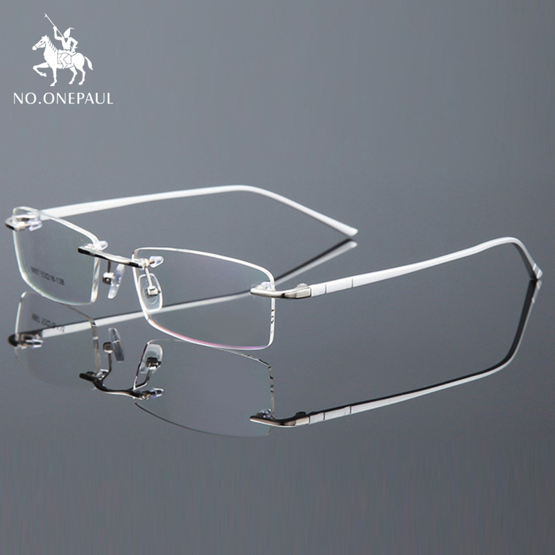 NO.ONEPAUL Optical For Male Eyewear Clear Lens Glasses Frame Eyes Spectacle Frame Men Rimless Eyeglasses Computer Prescription