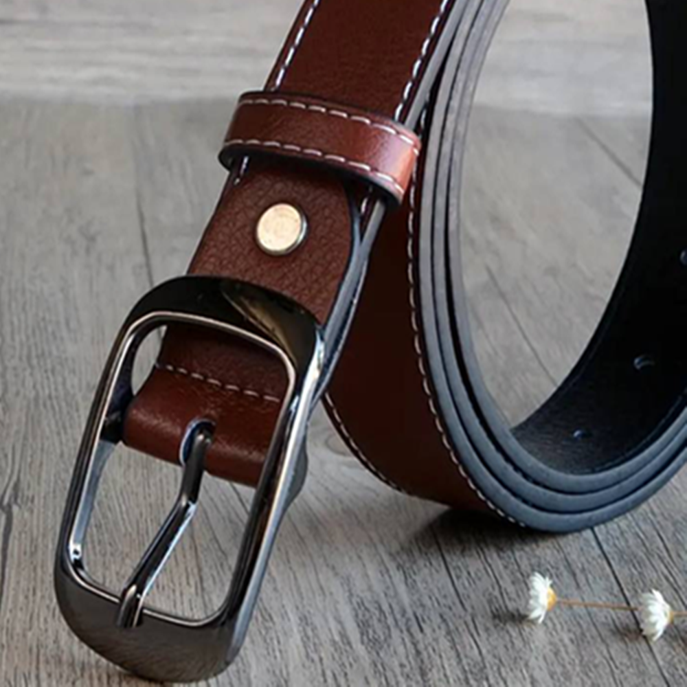 Large size flat bottom female new pin buckle fat mm lengthened simple wild jeans belt female 200 pounds belt strap strap materia