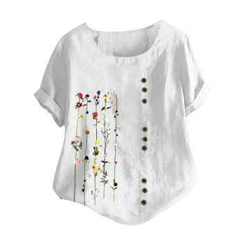 women's blouse Flowers Plus Size Women Bohemian Floral Embroidered Shirt Short Sleeves Top Blouse vintage clothes for wom 7