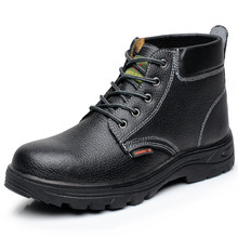 men large size casual steel toe caps work safety boots natural leather worker shoes autumn winter ankle security boot protection(China)
