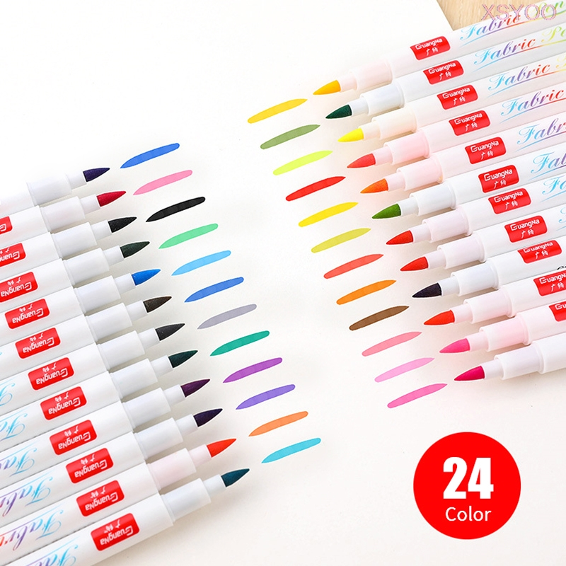 12/24 cores da pintura da tela camiseta escova marcador pigmento à prova dwaterproof água marcador de tinta para têxteis ideal roupas acessórios diy pintura