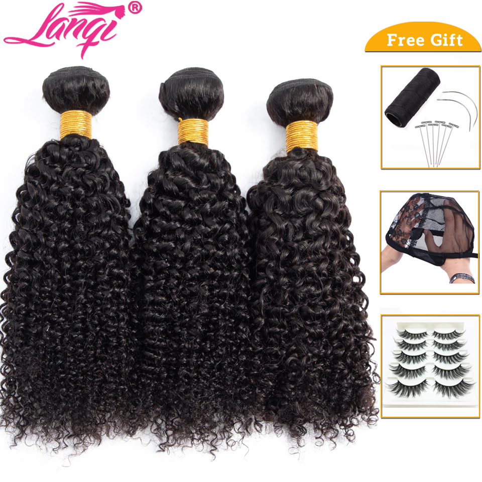 Lanqi Afro Kinky Curly Hair Bundle Deals 100% Human Hair 3 Bundles Or 1 Pc Non-remy Hair Extensions Brazilian Hair Weave Bundles