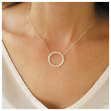 Gold Color Round Pendant Necklace Jewelry Women Fashion Simple  Circle Dangle Clavicle Chain Necklaces Accessories