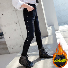 Skinny Jeans Denim Pants Magic-Trousers Thicken Black Girls Winter Kids Children Casual