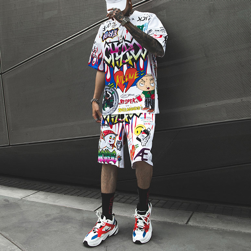 Ultimate SaleShort Trousers Tees Suits Joggers T-Shirt Printed-Sets Graffiti Streetwear Fashion Summer