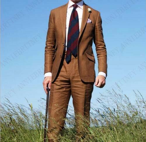 Мужской льняной костюм anniebitney, коричневый Классический Повседневный костюм смокинг для пляжа, Свадебный костюм большого размера, 2019