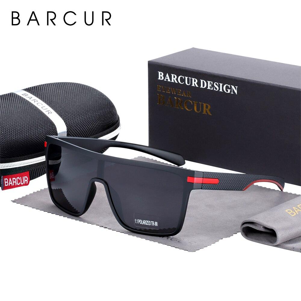 BARCUR Oversized Polarized Sunglasses Men Square Sun Glasses Driving Googles Gafas Oculos De Sol