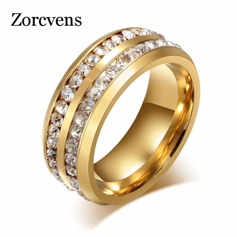 ZORCVENS Cool Men Punk 8MM สแตนเลสสตีล-สีคู่แถว Cubic Zircon งานแต่งงานแหวนสำหรับ Man ผู้หญิง