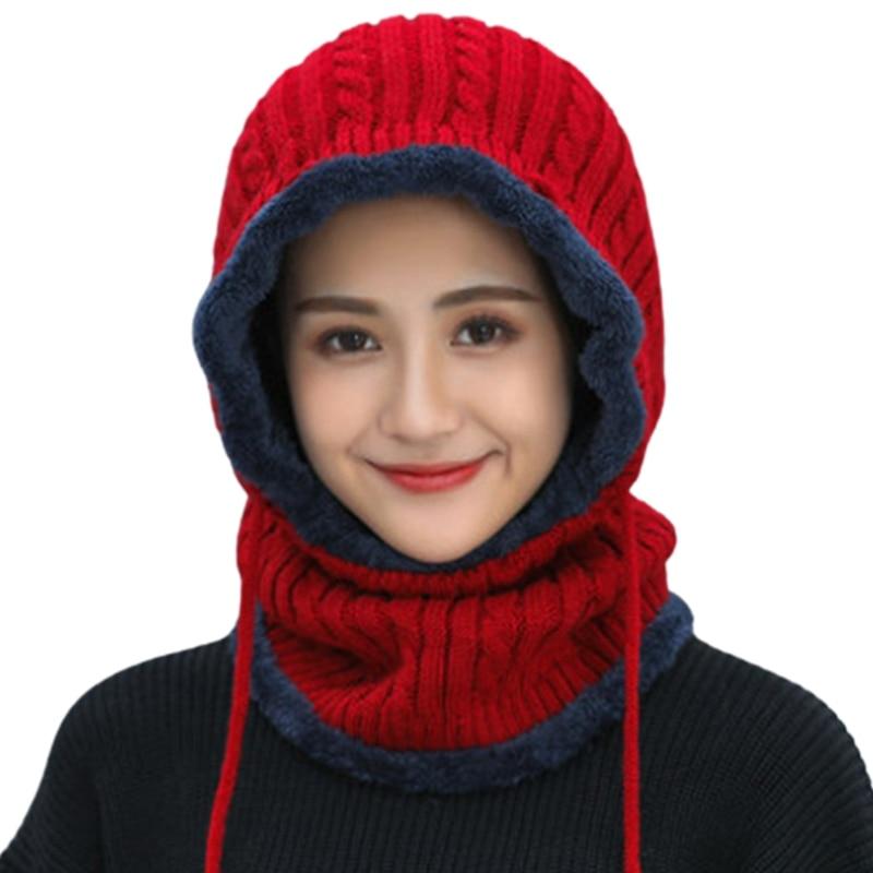 Women Winter Warm Knitted Balaclava Hat Plush Lined Ski Earflap Hood Cap Scarf