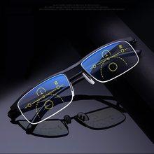 Multifocal Progresiva gafas de lectura de las mujeres de los hombres Anti azul protección UV gafas de presbicia marco medio de ajuste automático de gafas