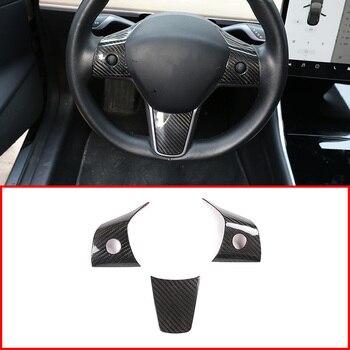 Car Interior  Carbon Fiber Steering Wheel Panel Cover Trim Accessories For Tesla Model 3 2017-2019