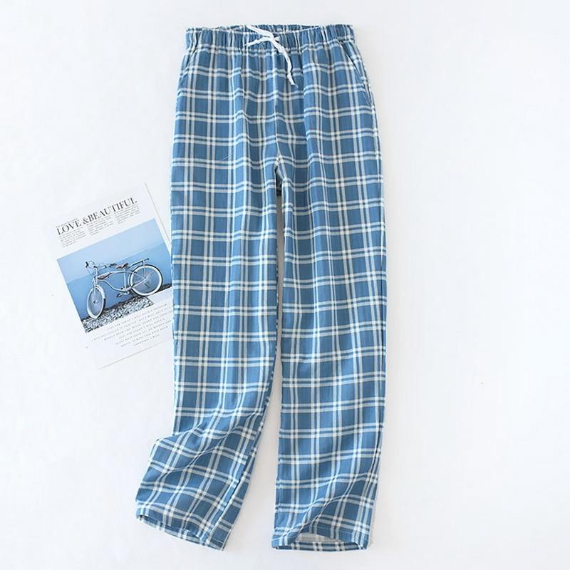MJARTORIA Men Cotton Gauze Trousers Plaid Sleep Pants Mens Pajamas Pants Bottoms Sleepwear Pajama Short For Men Pijama Hombre