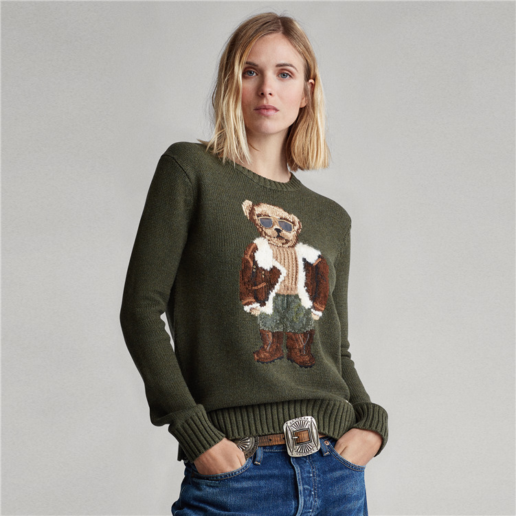 2019 New Pilot POLO Bear Jacquard Loose Lazy Round Neck Army Green Knitted Sweater  Pullover For Woman