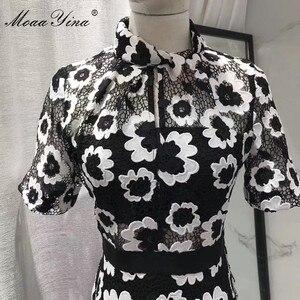 Image 5 - MoaaYina Moda Tasarımcı Pist elbise Sonbahar Kadın Elbise Balıkçı Yaka Kısa kollu Soyut Gipür dantel kesik dekolte Elbiseler