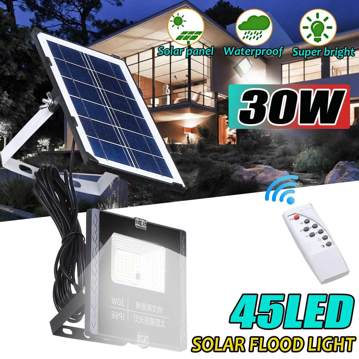30 w 태양 투광 조명 45 led 휴대용 스포트 라이트 투광 조명 야외 거리 정원 빛 방수 벽 램프 원격 제어