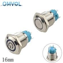 16mm auto-travamento interruptor de botão de metal anti-vândalo 1no interruptor de led luz 3-6v 12-24v 220v momentâneo 4 pinos à prova dwaterproof água