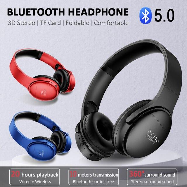 H1 Pro بلوتوث سماعات لاسلكيّ eسماعة مع مايكروفون حر اليدين HIFI ستيريو BT5.0 فوق سمّاعة أذن دعم TF بطاقة