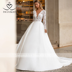 Image 3 - SWANSKIRT Vintage Lace Wedding Dress 2020 V neck Long Sleeve A Line Train Princess Customized Bridal Gown Vestido de novia I322