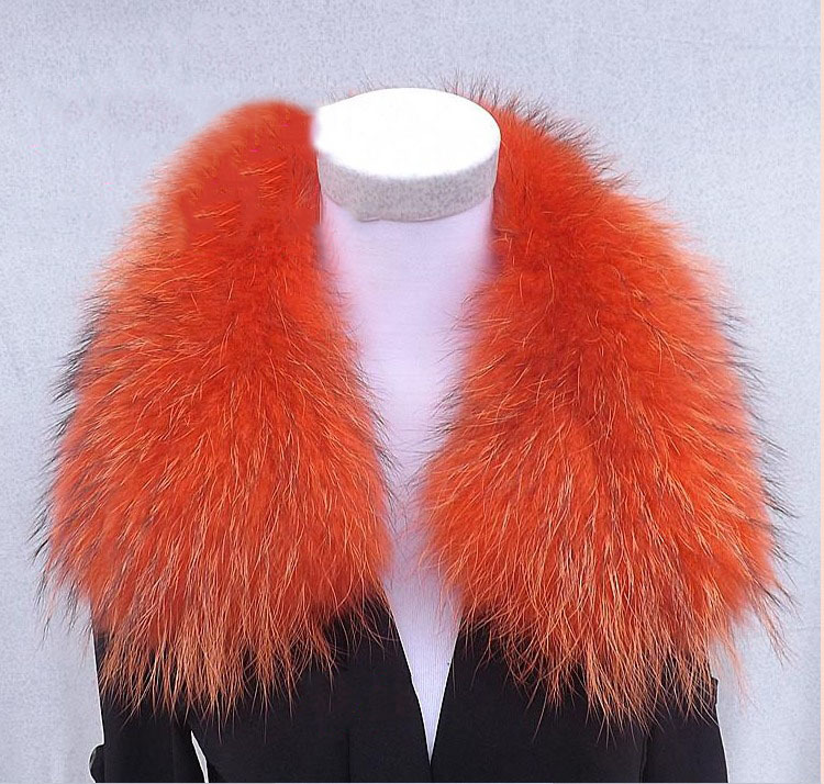 Женский шарф теплый подарок из меха енота ожерелья для куртки шарфы Banand Schal теплый натуральный зимний меховой шарф для женщин - Цвет: Orange