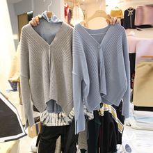 2019 Autumn Sweater New Women V-Neck Long Sleeve Knitted Cardigan Thin Cardigans
