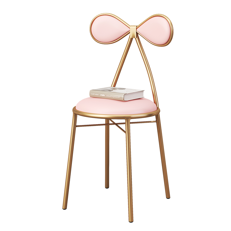 Nordic Style Simple Leisure Chair Gold Metal Restaurant Net Red  Single Makeup Bow  Iron Stool