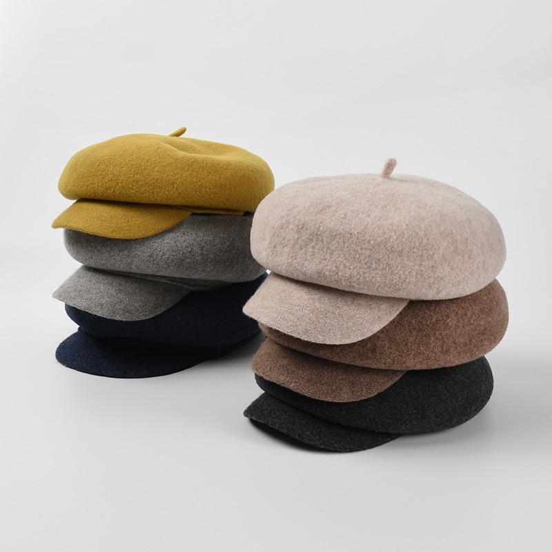 Retro Hats For Women Autumn Winter Solid Color Octagonal Hat Unisex Men Peaked Cap Wide Brim Windproof Casual Adult Cap Female