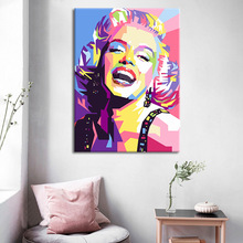 Colorful Marilyn Monroe Canvas Painting Portrait Abstract Geometric Posters and Prints Wall Art Pictures for Living Room