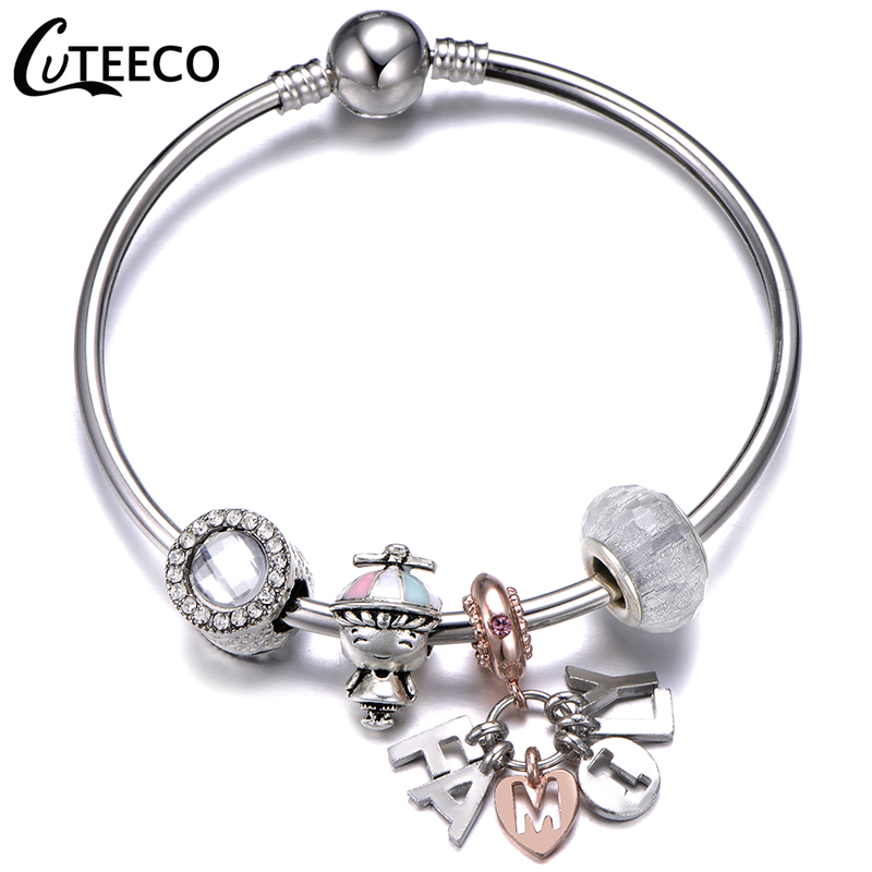 CUTEECO 2019 New I Love My Family Pendant Charm Bracelet Women Christmas Gift Young Boy Beads Bangle Fashion Jewelry in Charm Bracelets from Jewelry Accessories