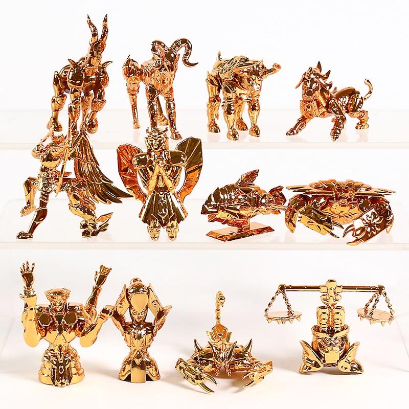 Saint Seiya The Gold Zodiac Sagittarius Aries Taurus Libra Scorpio Mini PVC Figures Collectible Toys 12pcs/set